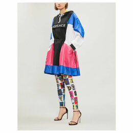 Colour-blocked logo-print shell hooded coat