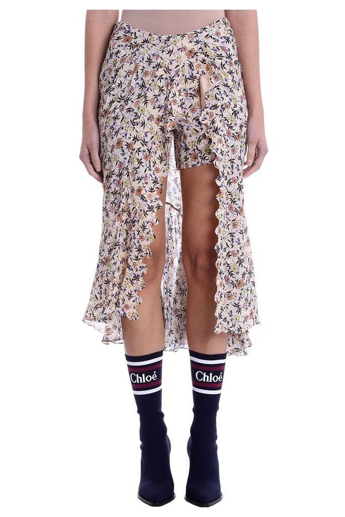 Chloé Long Skirt In Multicolor Silk