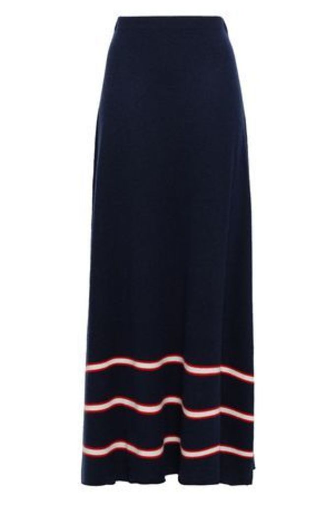 Madeleine Thompson Woman Striped Wool And Cashmere-blend Maxi Skirt Navy Size M