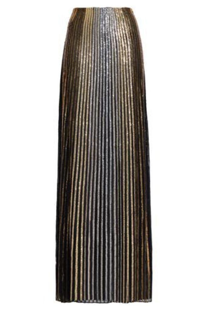 Balmain Woman Embroidered Silk Maxi Skirt Gold Size 36