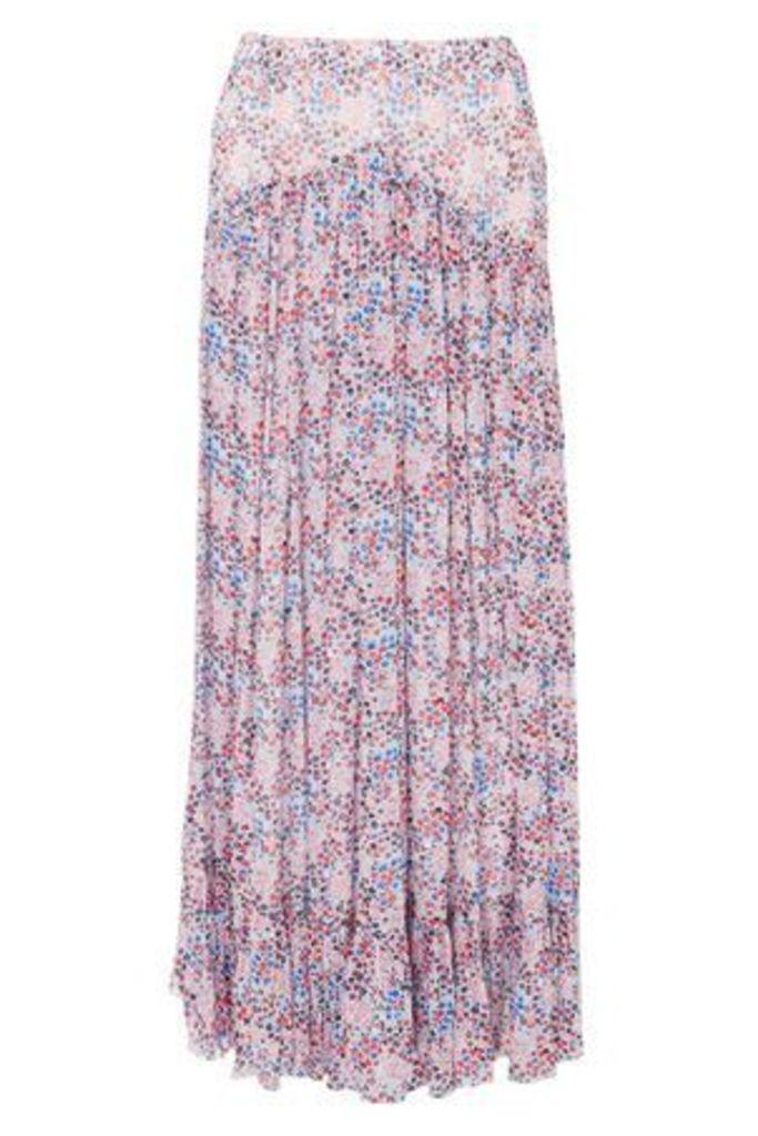 Philosophy Di Lorenzo Serafini Woman Floral-print Georgette Maxi Skirt Sky Blue Size 44
