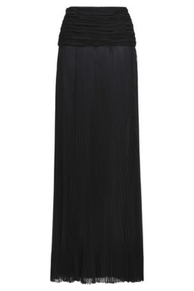 Roberto Cavalli Woman Ruched Pleated Silk-voile Maxi Skirt Black Size 40