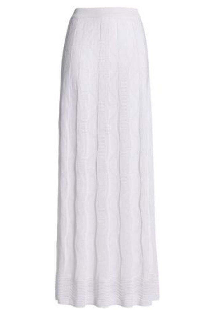 M Missoni Woman Pleated Crochet-knit Cotton-blend Maxi Skirt White Size 40