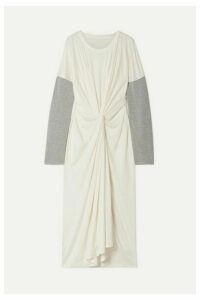 MM6 Maison Margiela - Oversized Twist-front Jersey-trimmed Stretch-knit Maxi Dress - White