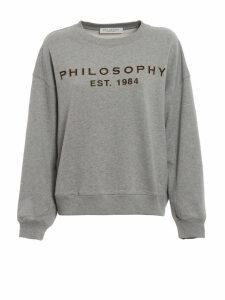 Philosophy di Lorenzo Serafini Grey Sweatshirt With Glitter Logo Print
