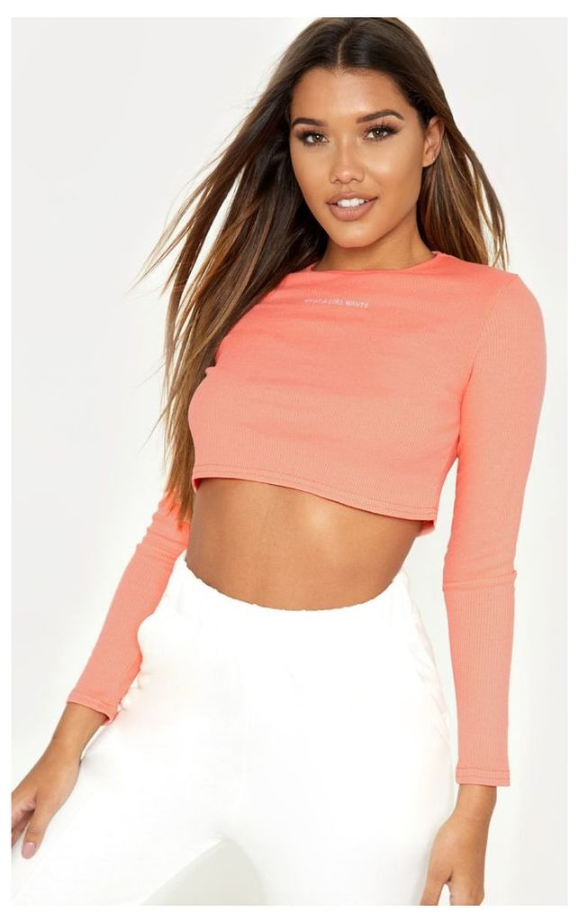 Neon Pink What A Girl Wants Embroidered Long Sleeve Crop Top, Neon Pink