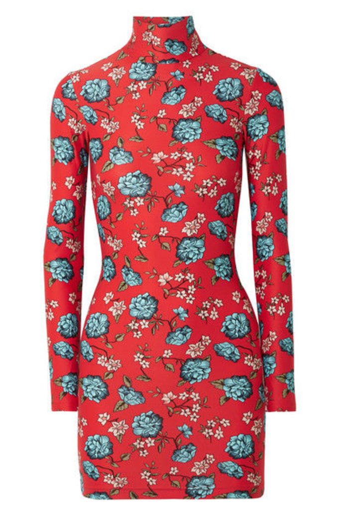 Vetements - Floral-print Stretch-jersey Turtleneck Mini Dress - Red