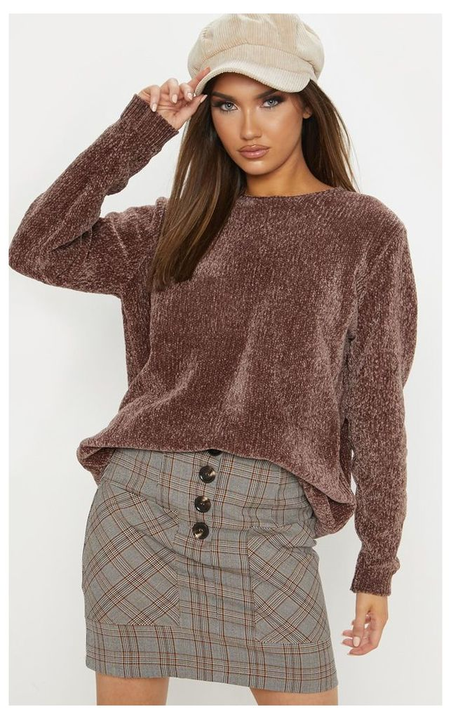 Brown Oversized Chenille Jumper, Brown