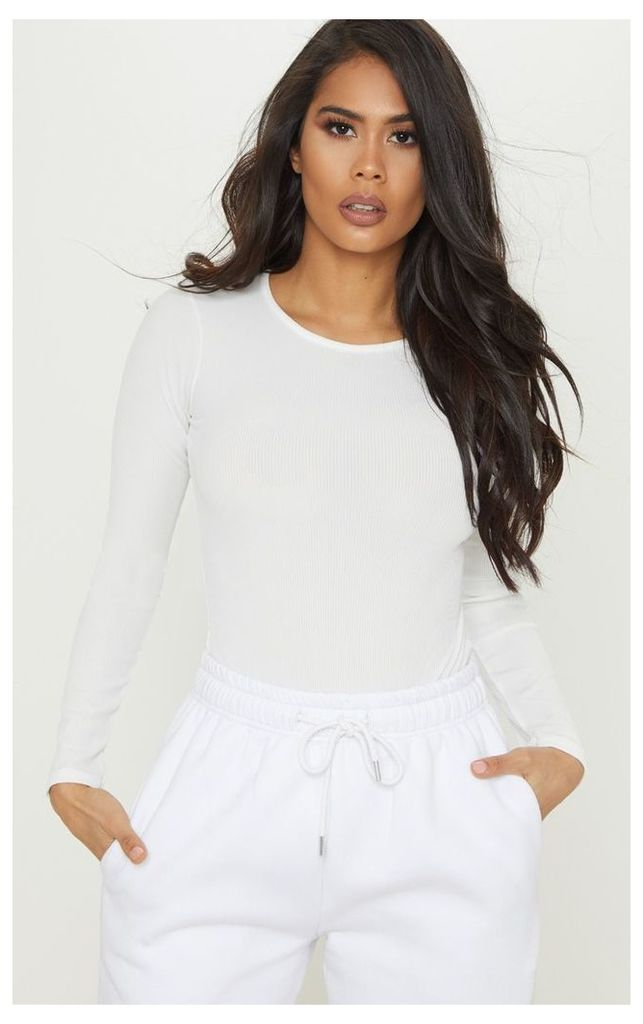 Cream Rib Scoop Neck Long Sleeve Bodysuit, White