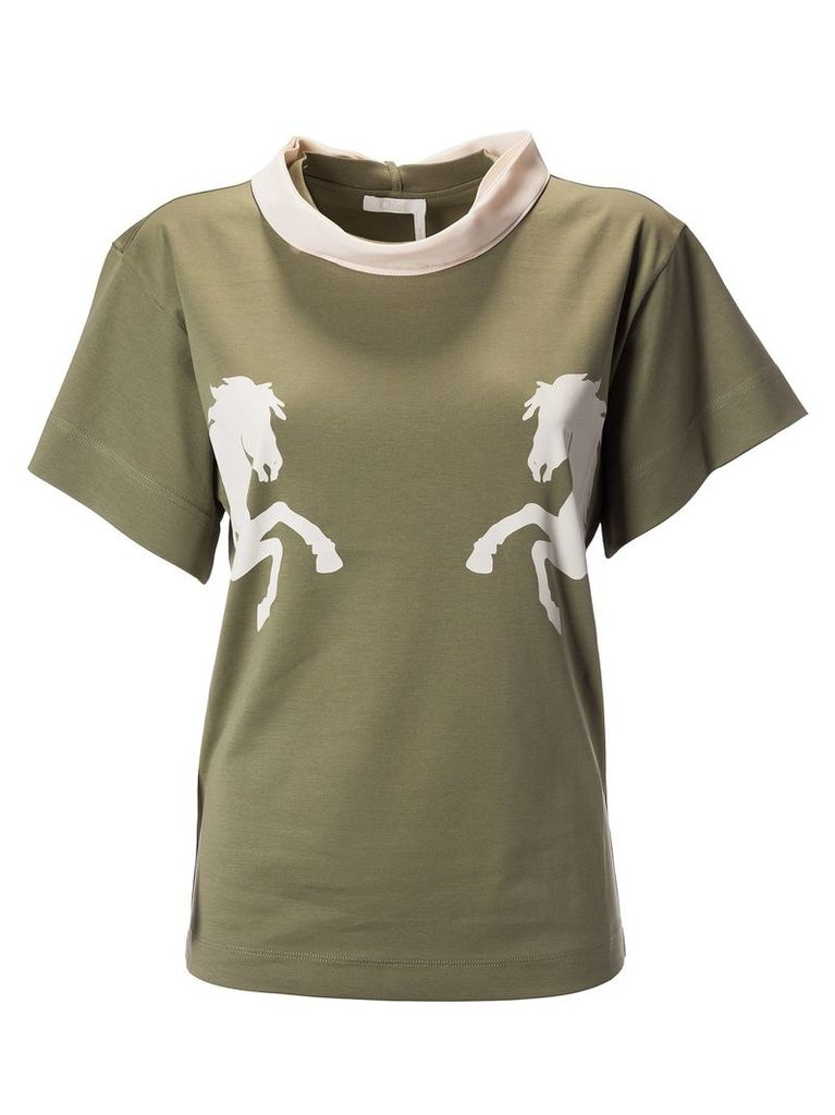 Chloé Tie Detailed Horse Print T-shirt