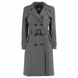De La Creme  Tweed Winter Trench Coat  women's Trench Coat in Black