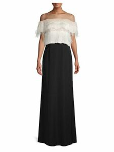 Lace & Feather Illusion Off-The-Shoulder Gown