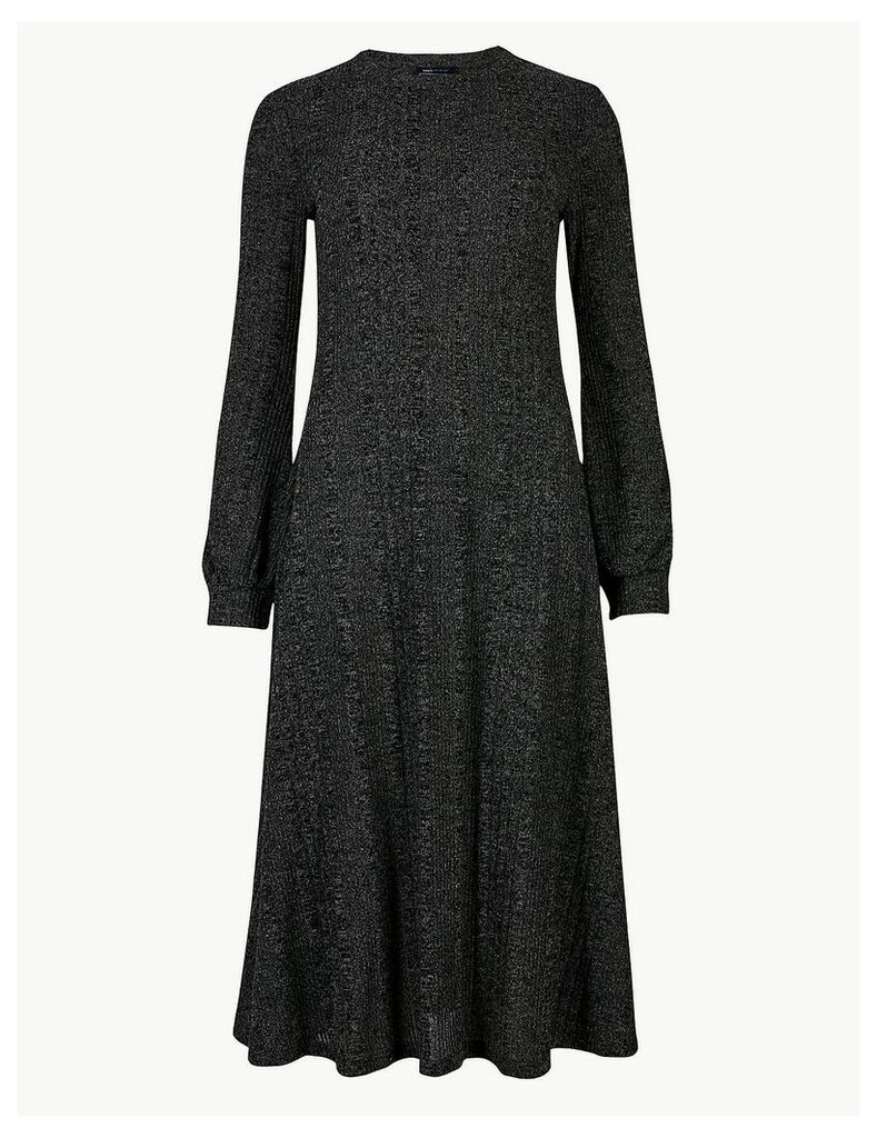 M&S Collection Jersey Cuff Sleeve Swing Midi Dress
