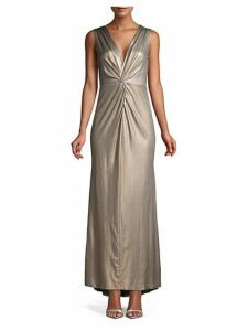 Metallic Knotted Column Gown