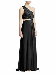 Goldie Silk One-Shoulder Gown