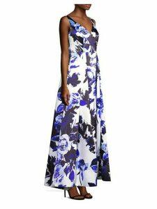 Floral Sleeveless Long Flare Dress