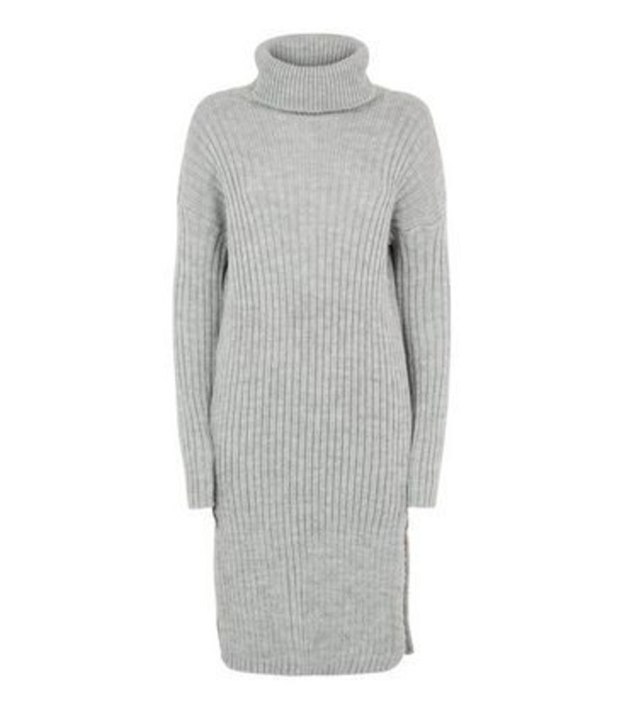 Urban Bliss Pale Grey Roll Neck Knit Dress New Look