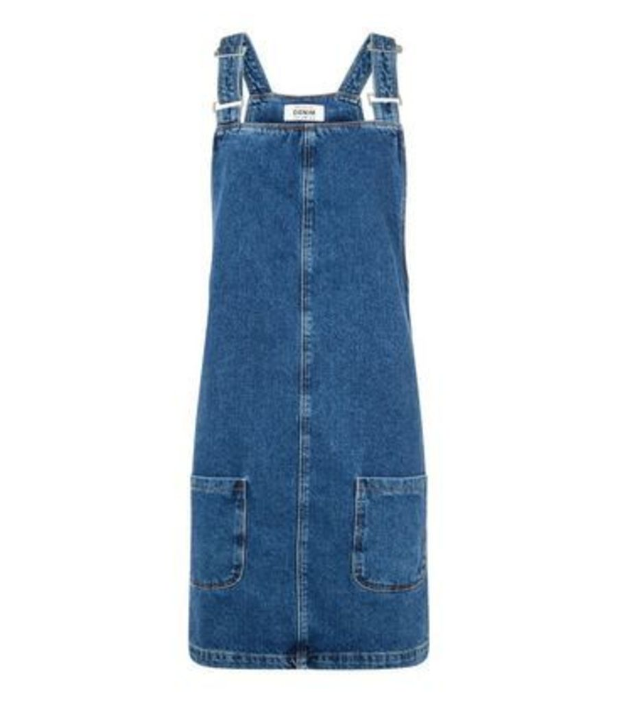 Tall Blue Denim Mini Pinafore Dress New Look