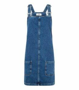 Tall Blue Denim Mini Pinafore Dress New Look