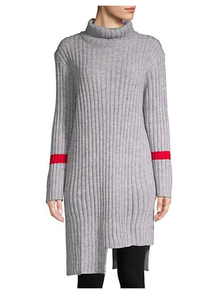 Asymmetric Turtleneck Sweater Dress
