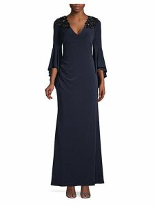 Embellished Stretch Bell-Sleeve Gown