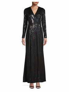 Sequin Wrap-Style Gown