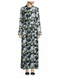 Floral-Print Silk Maxi Shirtdress