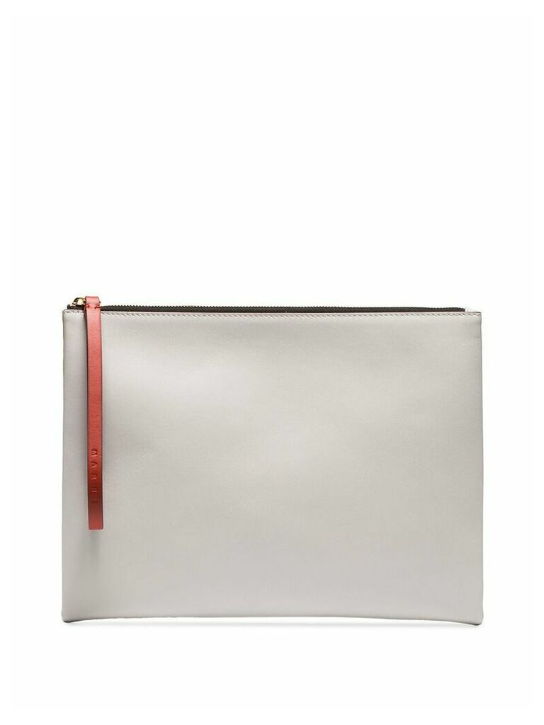 Marni mustard and white leather pouch - Brown