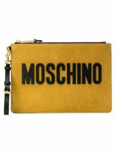 Moschino logo zipped clutch - Gold