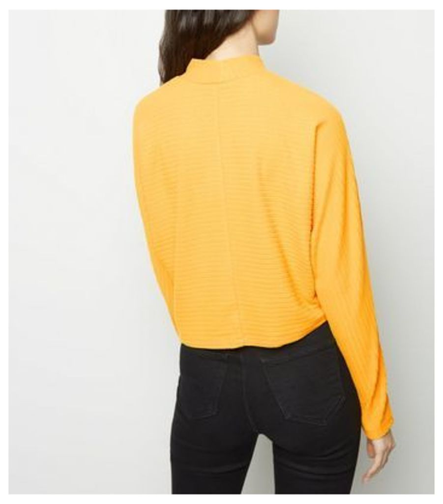 Mustard Brushed Ribbed Batwing Top New Look