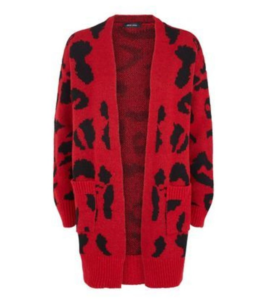 Red Leopard Print Oversized Cardigan New Look
