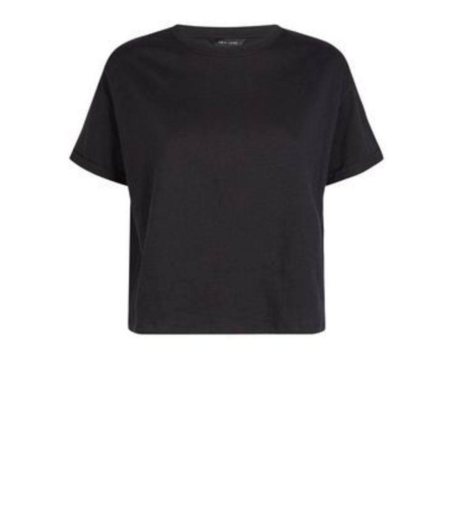 Black Organic Cotton Boxy T-Shirt New Look