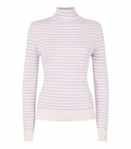 Lilac Stripe Ribbed Knit Roll Neck Top New Look