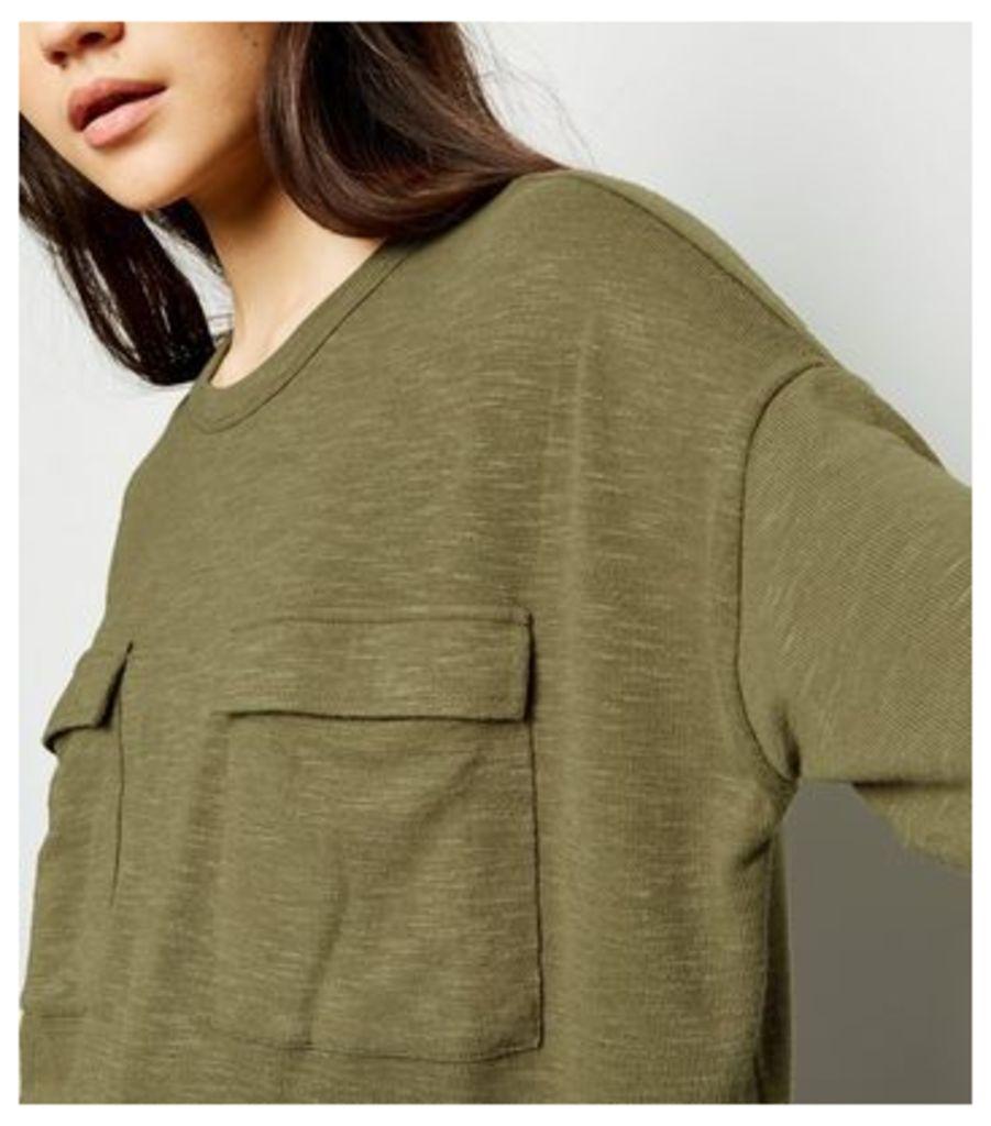 Khaki Pocket Front Fine Knit Boxy Top New Look
