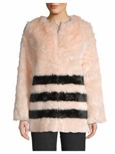 Candace Striped Faux Fur Jacket