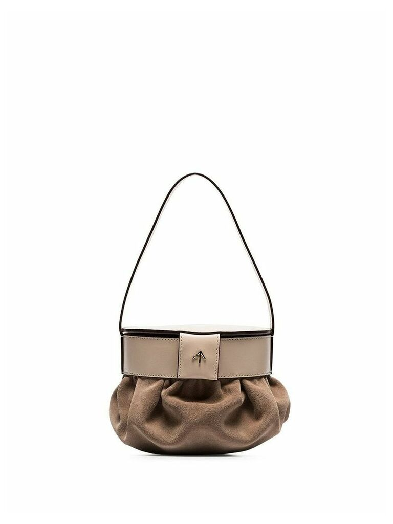 Manu Atelier beige Pouched suede and leather shoulder bag - Neutrals