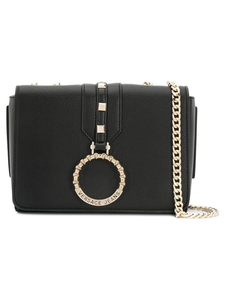 Versace Jeans logo ring crossbody bag - Black
