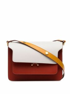 Marni white, yellow and red trunk small leather shoulder bag