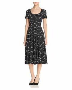 Three Dots Dot Print Midi Dress