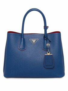 Prada Double leather medium handbag - Blue