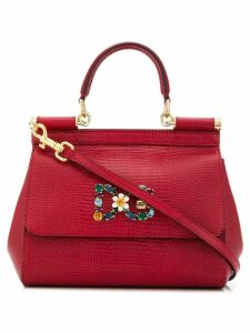 Dolce & Gabbana bouquet brooch tote bag - Red