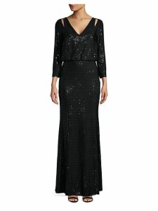 Sequined Cutout Blouson Gown