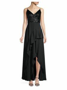 Sequin & Chiffon Ruffle Slit Gown