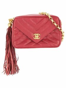 Chanel Pre-Owned CC Logos Fringe Chain Shoulder Bag - Red