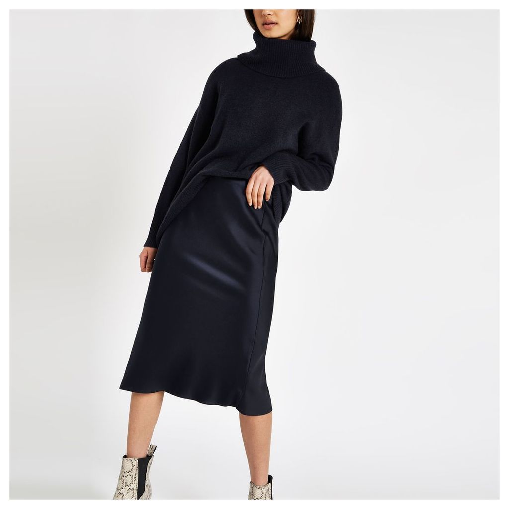 Womens Navy bias cut midi skirt