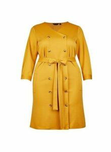 Womens **Dp Curve Yellow Double Breasted Shirt Dress- Orange, Orange