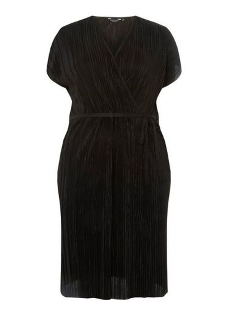 Womens **Dp Curve Black Plisse Wrap Dress- Black, Black