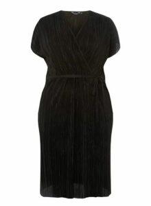 Womens **Dp Curve Black Plisse Wrap Dress- Black, Black