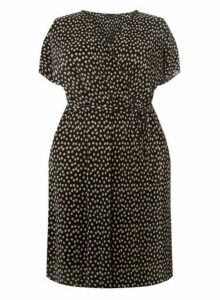 Womens **Dp Curve Black Spot Print Plisse Wrap Dress, Black