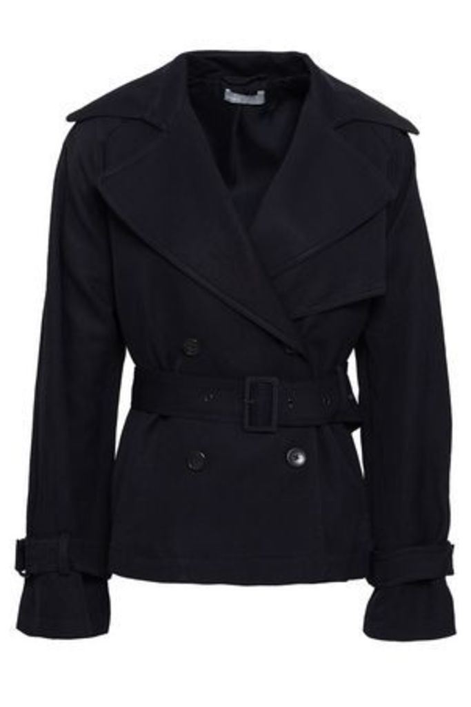 Vince. Woman Belted Canvas Jacket Midnight Blue Size XS